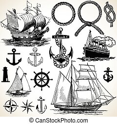 Set of nautical design elements. Colors are easily editable.