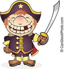 Navy Boat Captain Cartoon Character