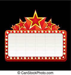 Classic blank neon sign for cinema, theater or casino