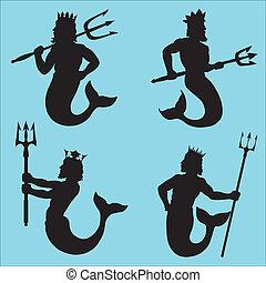 Neptune - god of the sea. Four silhouettes.
