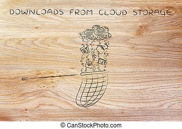 net catching data falling from an electronic cloud, downloads & storage