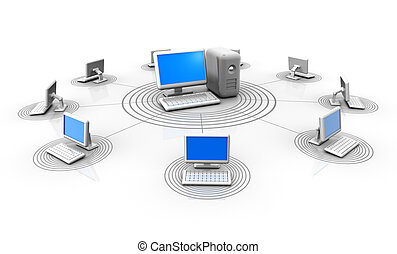 Conceptual computers in a network connected by a server - 3d render