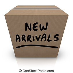 The words New Arrivals written on a cardboard box full of the latest and newest products and merchandise delivered to the store, the seller, or to you, the buyer