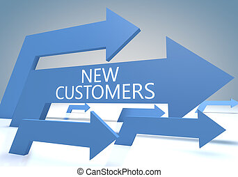 New Customers render concept with blue arrows on a bluegrey background.