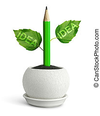new idea concept, pencil with leafs in pot
