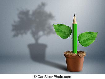 new idea creative concept, green pencil growing from pot