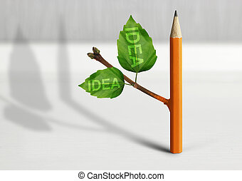 New idea creative concept, pencil with leaves on table