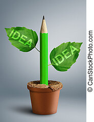 new ideas creativity concept, pencil with leaves as stem