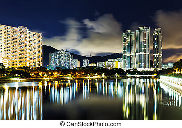 New territories in Hong Kong at night