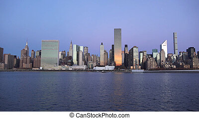 New York City skyline with urban skyscrapers at sunset 2019