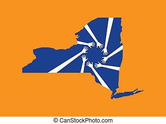 New York Helping Hands Map. Vector Design illustration