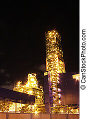 Night scene of chemical industrial