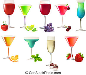 Nine party drinks isolated on white background