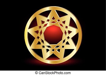 Nine pointed star , stars in a circle ,