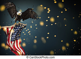Bald Eagle with American flag