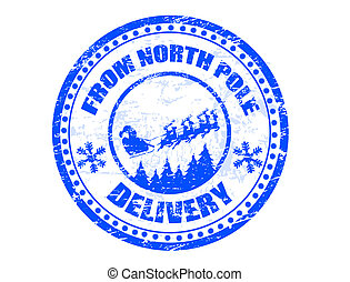 Blue grunge rubber stamp with flying Santa silhouette and the text from North Pole delivery written inside the stamp