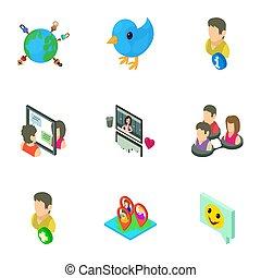 Notice icons set, isometric style