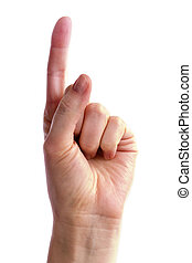 A hand holding up one finger. Includes clipping path.