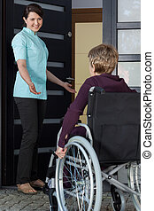 Nurse invites a disabled woman to the house