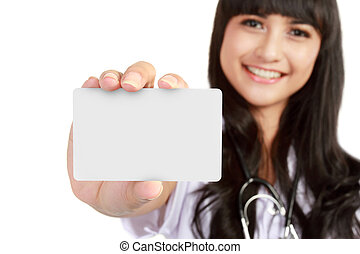 young medical doctor woman showing business card