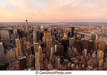 NYC with urban skyscrapers at sunset