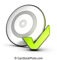 Conceptual 3D render image of a target board with a green check mark behing it, symbol of achieving objectives or goals