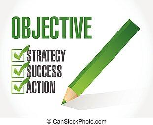 objective check list illustration design over a white background
