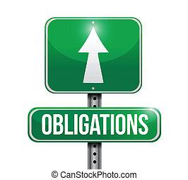 obligations road sign illustration design over a white background