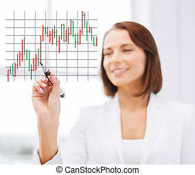 businesswoman drawing forex chart in the air