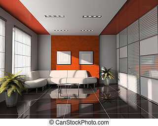 office interior with orange ceiling 3D rendering