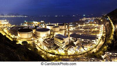 Oil tanks at night