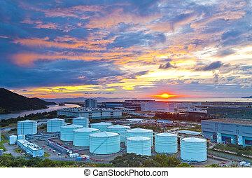 Oil tanks at sunset in Hong Kong