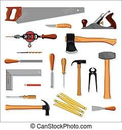 Old carpenter tools on white