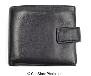 Black leather worn wallet isolated over white background