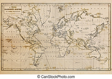 Photo of a genuine hand drawn world map, it was drawn in 1844 and therefore the countries are named as they were in that period of time in the 19th century, the staining is a result of natural ageing process and nothing has been done in photoshop to the map other than remove the cartographers name.