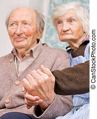 Old happy grandparents