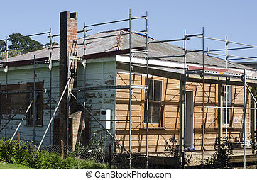 KAITAIA, NZ - AUG 29:Historic European house repair on Aug 29 2013. Kaitaia is one of New Zealand's oldest European towns, it dated back to 1834 when land for a Mission Station was formally paid for.