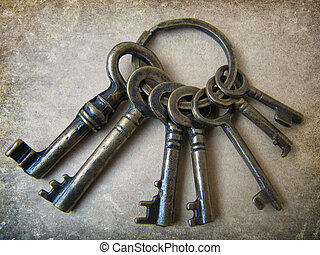 Seven keys to good luck grunge background.