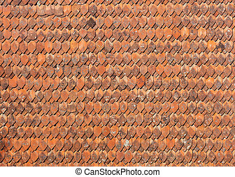 Old style ceramic tiles on the roof