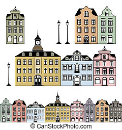 Old and historic houses in different colours, isolated on white background, objects are individually grouped and can be rearranged to change the look or color. Vector graphic includes a high resolution JPEG.
