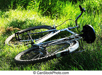 Old vintage bicycle on the grass -