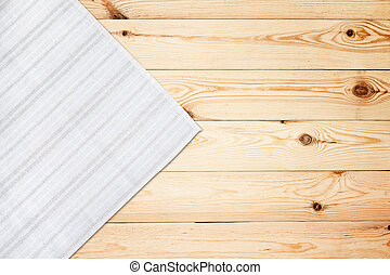 Old vintage wooden table with white tablecloth. Top view mockup.