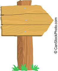 old wooden signpost on white