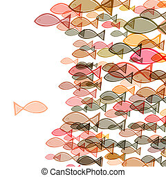 one fish swimming in the opposite direction of a troupe of fishes