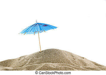 One blue parasol on the beach