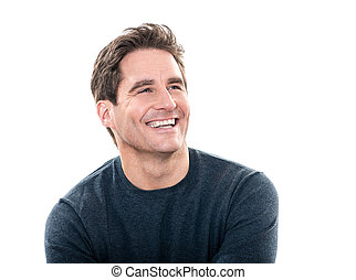 one caucasian man mature handsome man laughing portrait studio white background