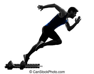 runner sprinter running sprinting athletics man silhouette isola