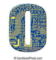 One digit from the electronic technology circuit board alphabet on a white background - 0
