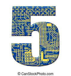 One digit from the electronic technology circuit board alphabet on a white background - 5