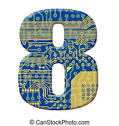 One digit from the electronic technology circuit board alphabet on a white background - 8